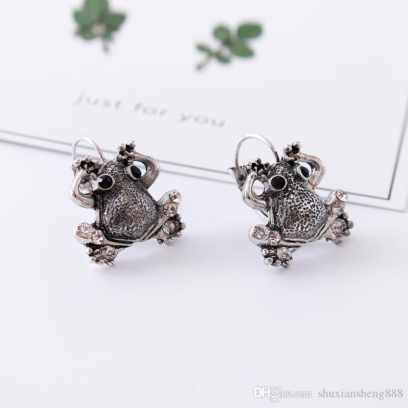 Boucles d'oreilles à la mode antique animaux grenouille, personnalité féminine charmante clip oreille crapaud