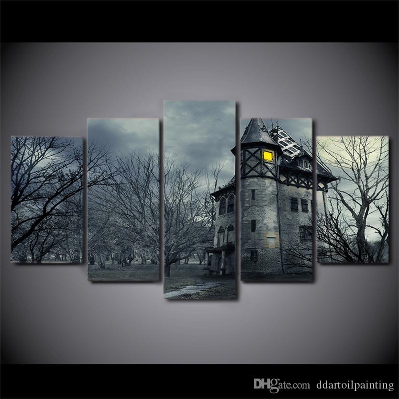 "Halloween LARGE 60""x32"" 5Panels Art Canvas Print Halloween Grey Castle Pictures Movie Poster Wall Home Decor interior No Frame"