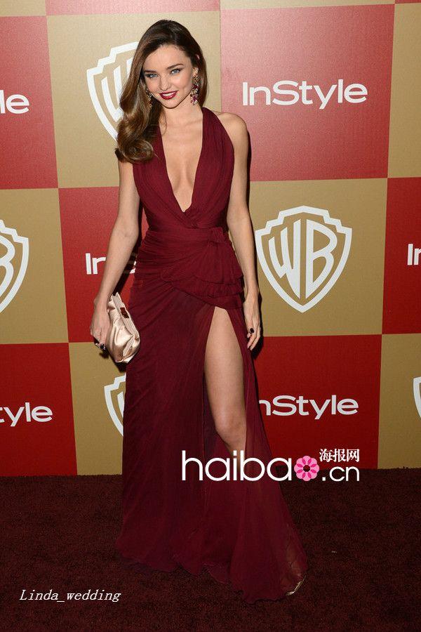 Miranda kerr zuhair murad vestido de noite sexy vinho tinto profundo decote em v até o chão longo vestido da celebridade ocasião especial vestido de festa vestido