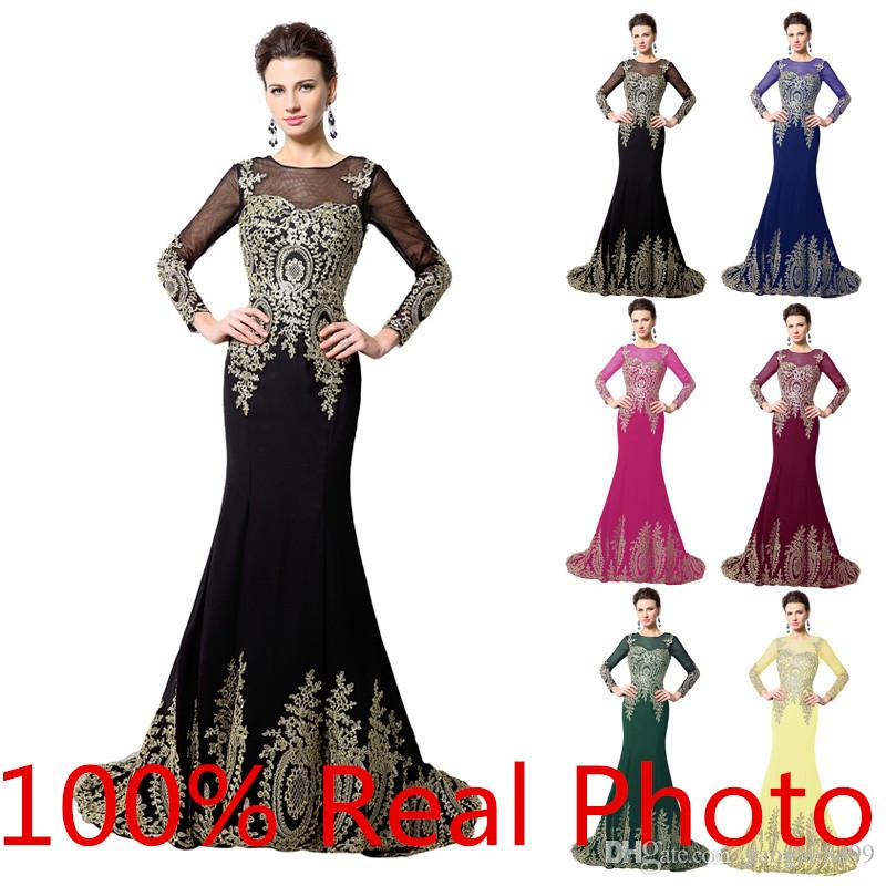 2016 Real Photo Gold Embroidery Mermaid Long Sleeve Evening Dresses Dubai Arabic Kaftan Crew Lace-up Occasion Prom Pageant Cheap Gown