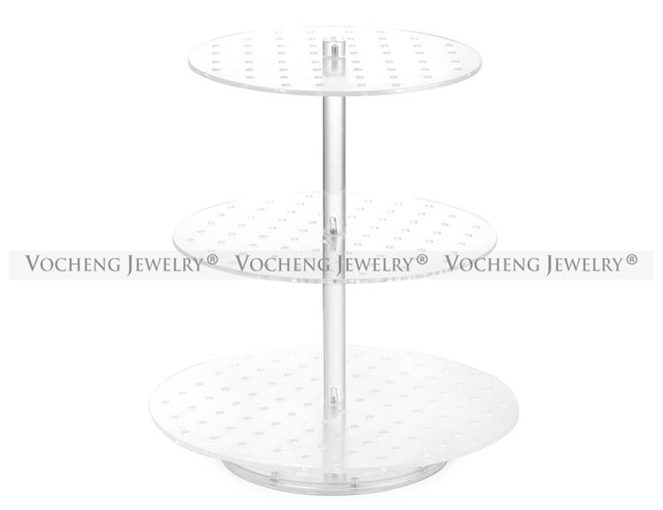 VOCHENG Transparent Three Layers Detachable Round Acrylic Displays Stand for Snap Charms NN-476