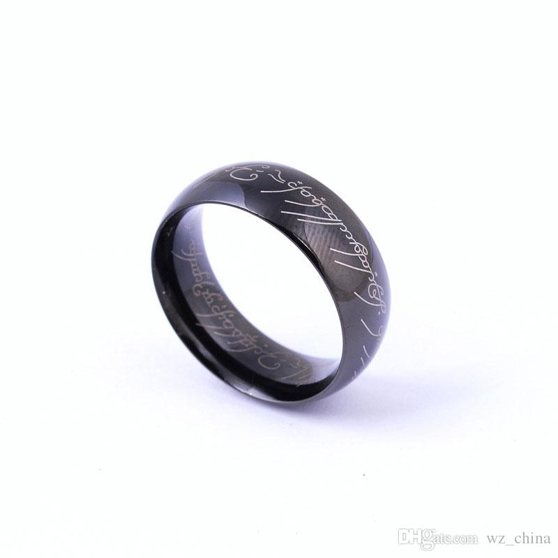 New Lord Of The Rings 18K Gold/Silver Plated Jewelry The Hobbit Couple Rings Black Mens Rings Fashion Wedding Hand Jewelry Hot Brand