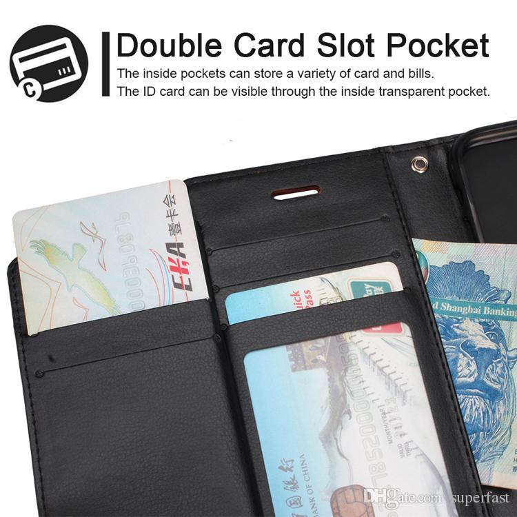 قسط المحفظة القضية لفون XS ماكس XR 8 7 زائد فليب غطاء مسنده القضية لسامسونج S8 S9 زائد غطاء حقيبة جلد OPP حقيبة