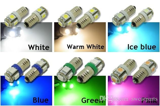 E10 5-SMD 5050 LED White/Warm/Iceblue/Blue/Green/Pink Lights MES Miniature Screw Bulb for DIY LIONEL DC 12V Lamp