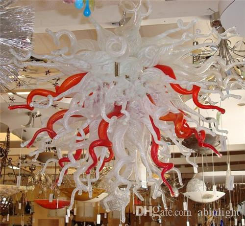 Hotsale Turkish Style CE/UL Certificate Energy-saving Murano Glass Crystal Art Decorative Unique Red and White Chain Ceiling Chandelier