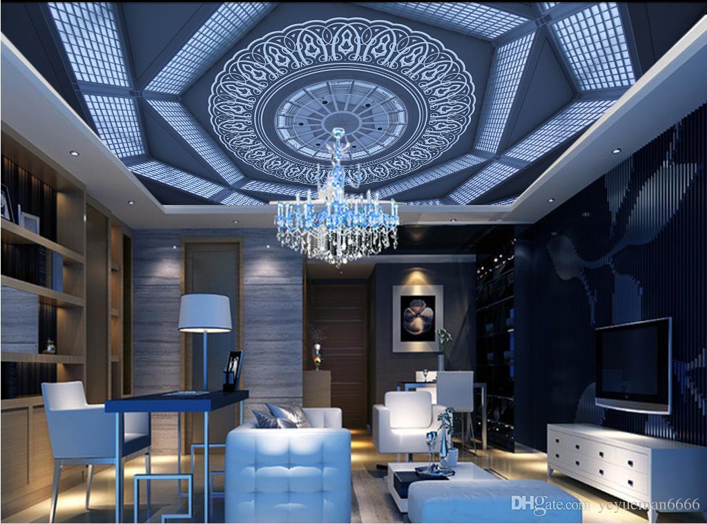 Пользовательские 3D Стереоскопические обои 3D потолок голубое небо и белое небо украшения живопись потолочные фрески обои для стен 3 d