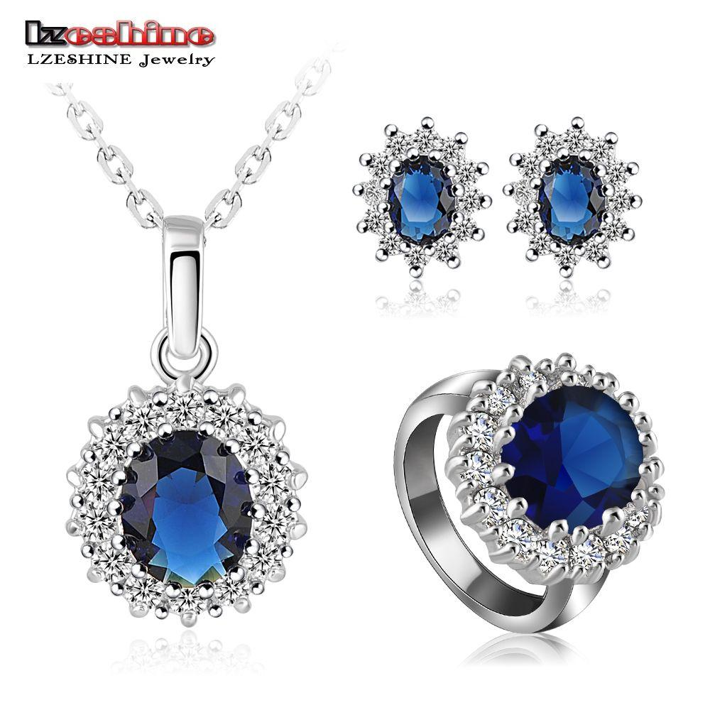 Compre new arrival luxury wedding jewelry set platinum plate women compre new arrival luxury wedding jewelry set platinum plate women necklace earring ring set escolha o tamanho do anel bijoux mariage st0016 de junglespirit Image collections