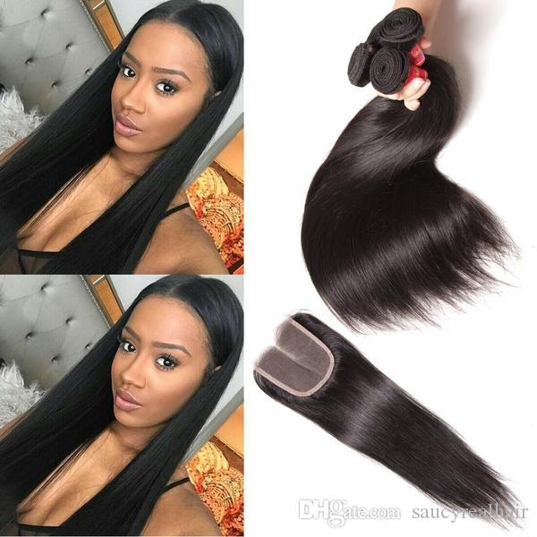 Elibess-Virgin Human Hair Lace Closure Peruvian Malaysian Indian Cambodian Mongolian Natural Color Straight Hair bundle with 4*4 closure