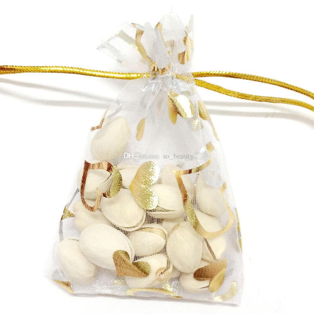 골드 하트 Organza 포장 가방 쥬얼리 파우치 결혼식 호의 크리스마스 파티 선물 가방 9 x 12 cm 3.6 x 4.7 인치