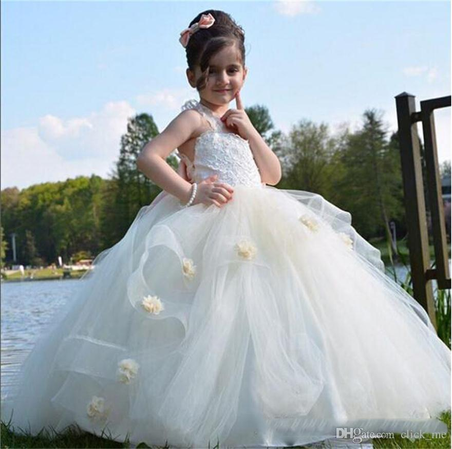 04cf2b97d6fe5 Ball Gown Flower Girls Dresses For Weddings Layers Handmade Flowers Lace Girls  Wedding Dress Tulle Puffy Kids Party Prom Dress Ivory Flower Girl Dress  Kids ...