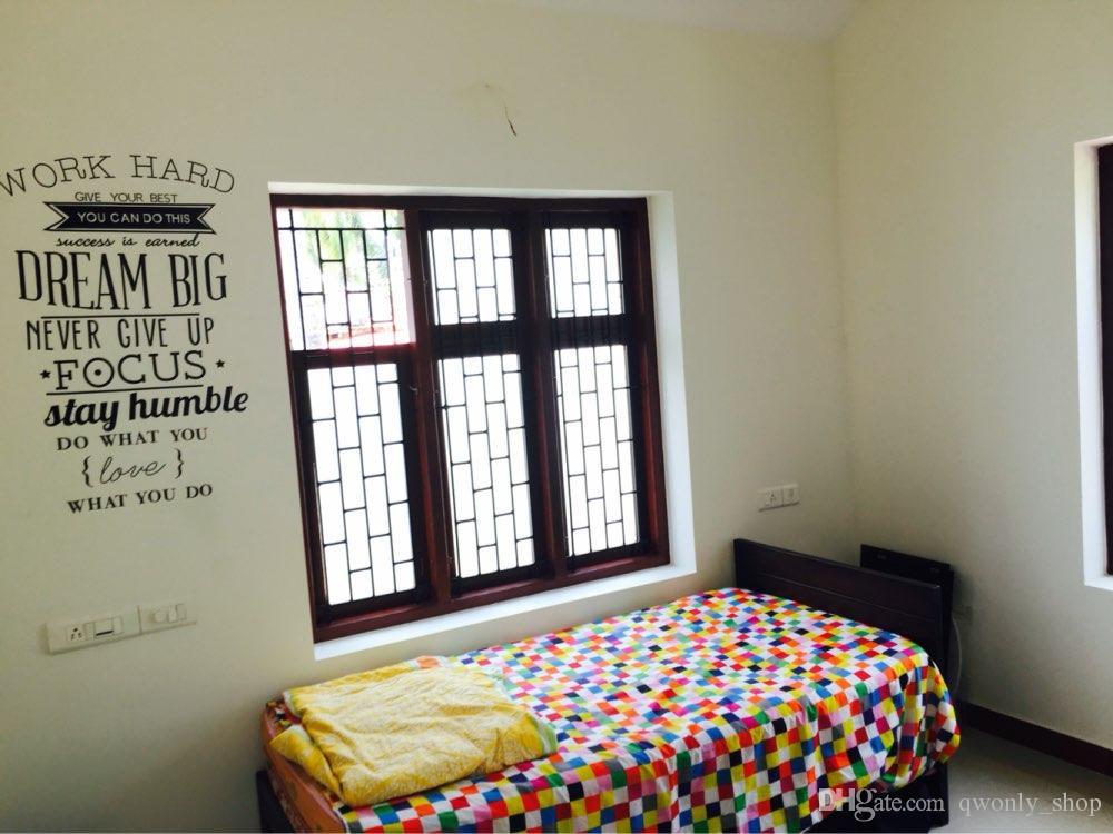 adhesivos de pared pared trabajo duro de vinilo pegatinas oficina decorativas letras decoracin del hogar