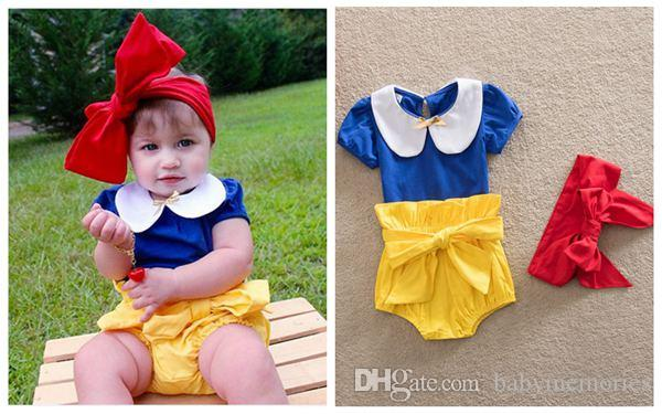 f58fef593d7d0 2019 New Baby Snow White Princess Clothes Girls Sets Kids Hair Bows  Headbands + Cotton T Shirts + Bowknot Shorts Suit Boutique Outfits  Wholesale From ...