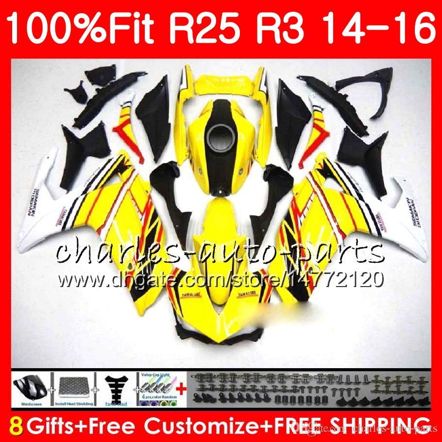 Injection Cowling For YAMAHA YZF-R3 YZF-R25 Light yellow YZF R 3 R 3 YZFR3 Body 83NO37 YZFR25 R25 14 15 16 R 25 R3 2014 2015 2016 Fairing