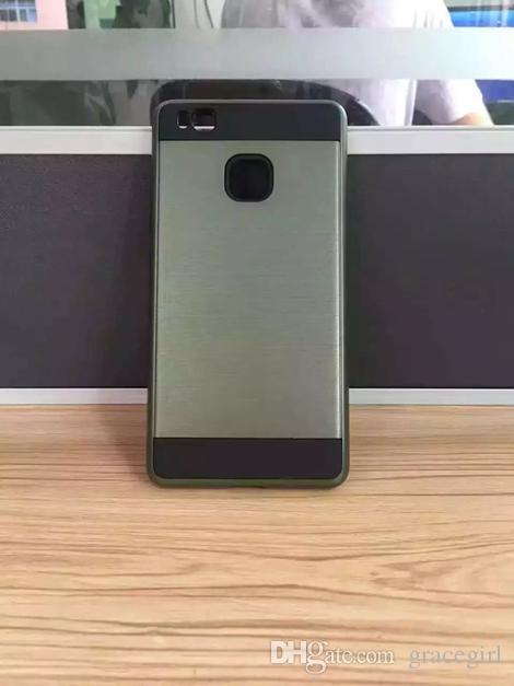 Hybrid Brush TPU Hard Case For Huawei P8 P9 Lite Plus Honor 4C 7 6 Mate8 Mate7 Metallic Dual Layer Shockproof Armor Chrome Skin Cover