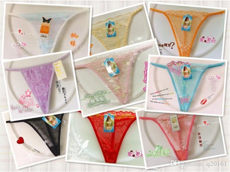 Sous-vêtements en dentelle sexy pour femmes dentelle semi-perméable petite taille String String String Culottes T Back LINGERIE femme maillot de bain multicolore élastique G-String