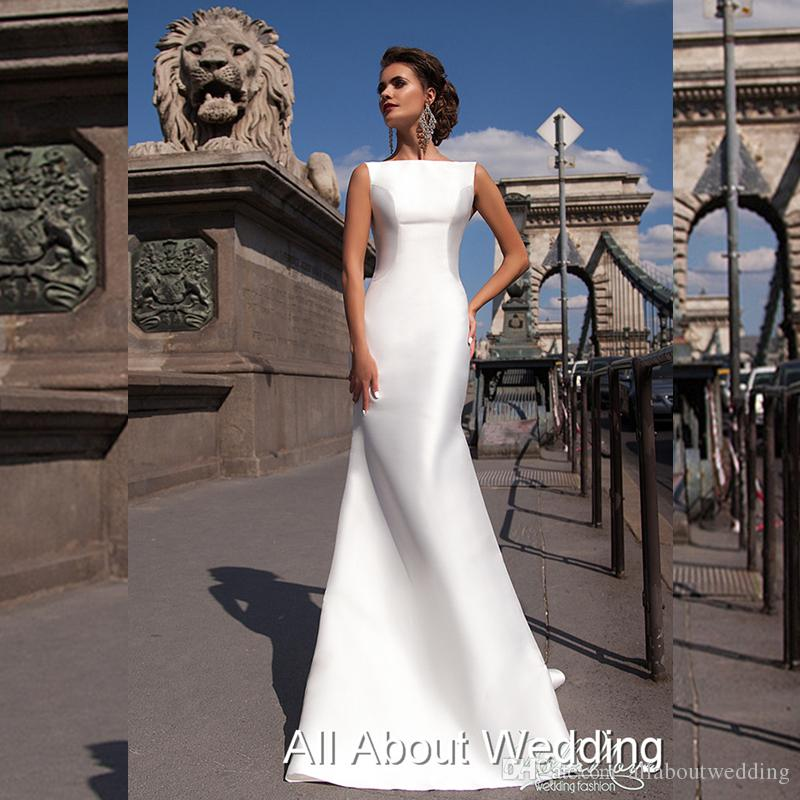New Style Satin Mermaid Wedding Dresses With Extra Train Custom Made ...