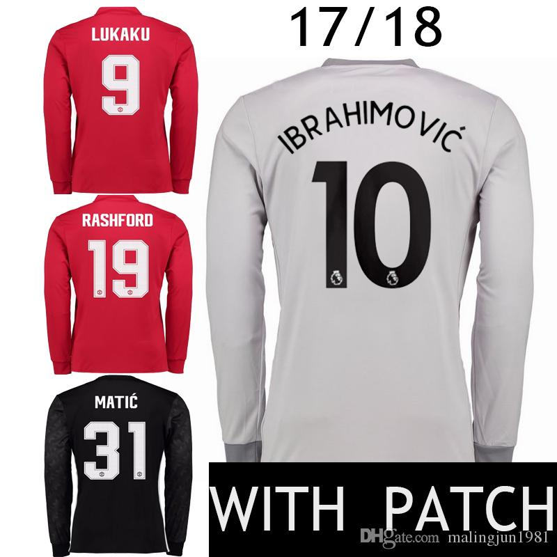 new arrival c8803 f5dd1 manchester united 9 zlatan ibrahimovic red home long sleeves ...