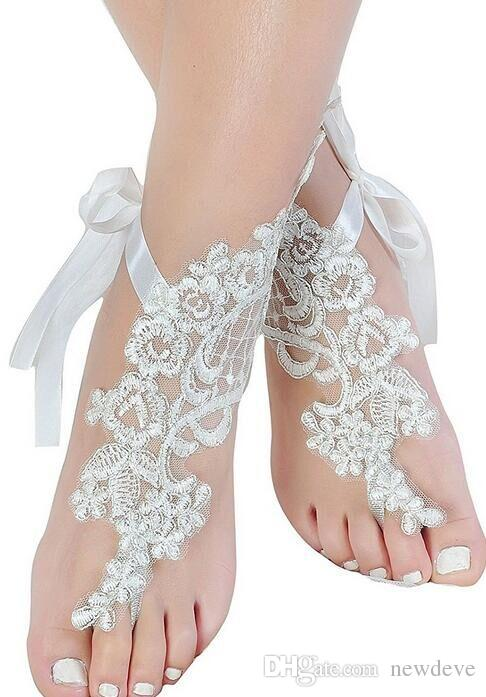 Cheap Lace Wedding Shoes White Free Size Short Bridal Accessories Footchains For Beach Wedding Free Shipping