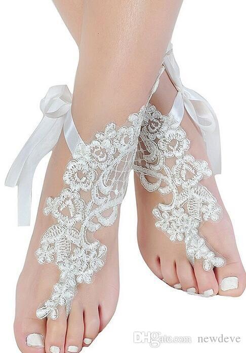 Pas cher Chaussures De Mariage En Dentelle Blanc Taille Libre Court Accessoires De Mariée Paire De Chaînes Pour Mariage De Plage Livraison Gratuite