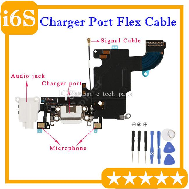 شاحن USB شحن ميناء موصل سماعة الصوت قفص الاتهام الكابلات المرنة للحصول على استبدال اي فون 6S 4.7 6S '' زائد 5.5 بوصة