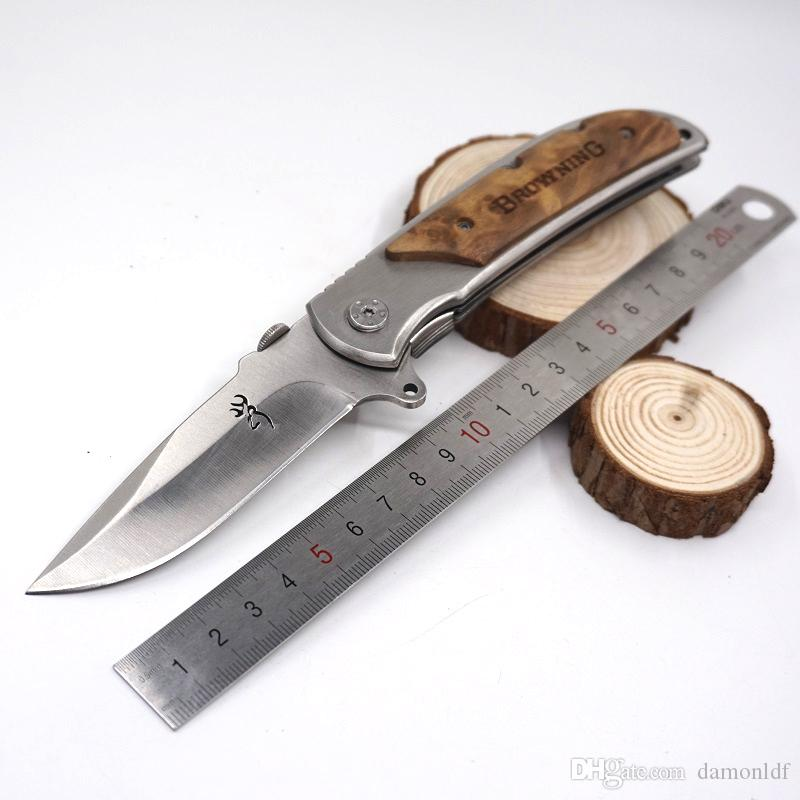 Quick-opening Brwoning Knives Pocket Folding Knife 338 Wood Handle Large Size Tactical Survival Combat Knife Outdoor EDC Tool Gift Knife