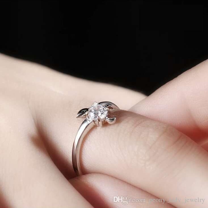 925 스털링 실버 반지 상품 크리스탈 반지 별자리 별자리 결혼식 매력 빈티지 고전 뜨거워 설정