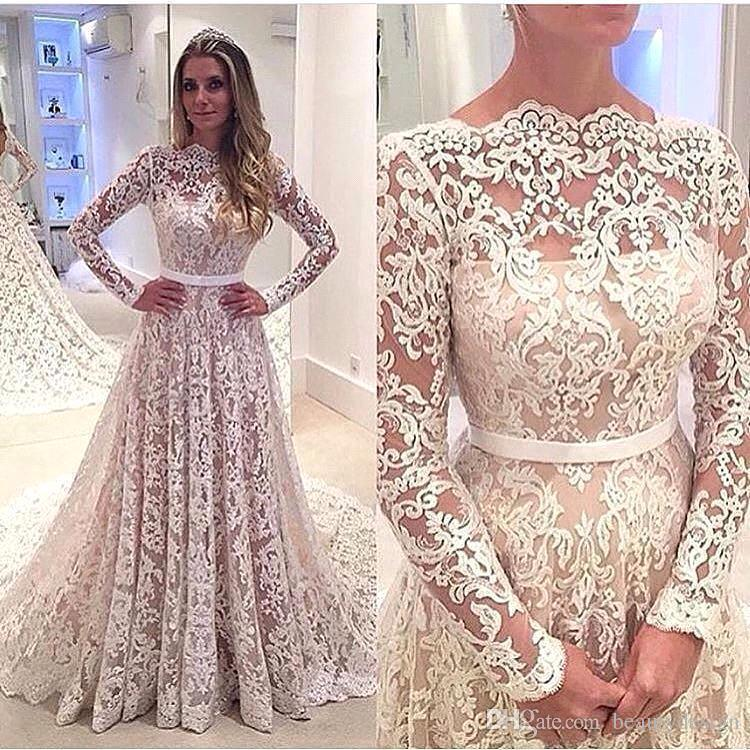 Robe De Soiree 2017 Sexy Full Lace Backless A-line Long Sleeves Wedding Dresses Bateau Neck Court Train Bridal Gowns with Belt Custom Made