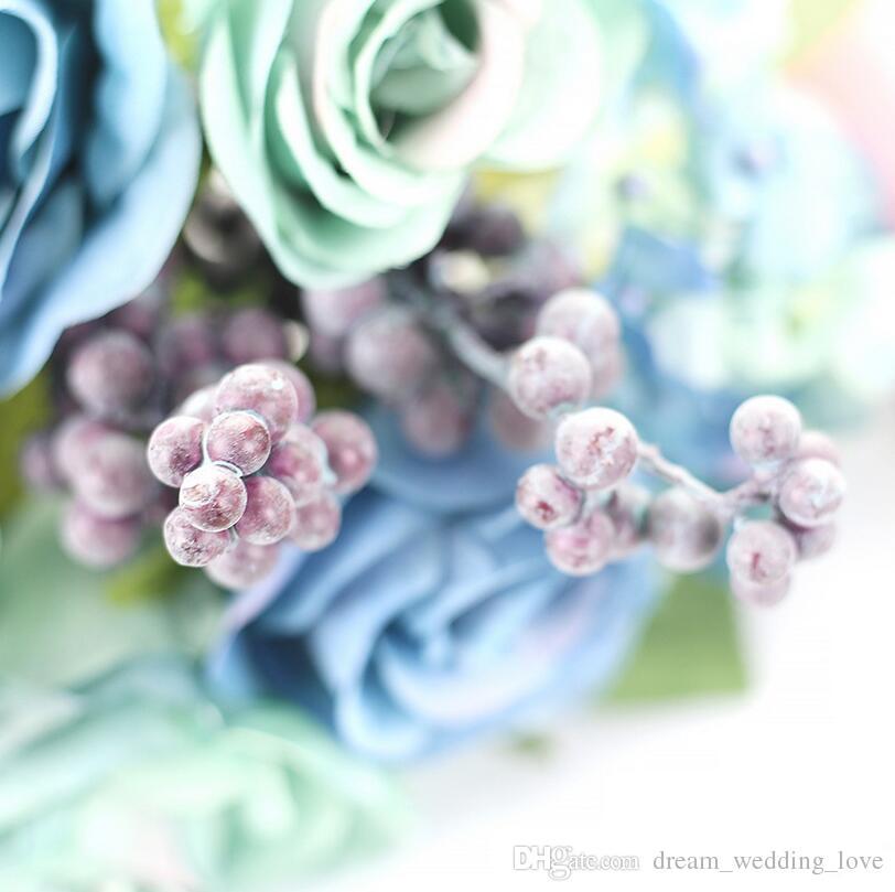 Diamant de créations de mariage bouquet de rose artificiel bleu environ 21cm comprennent rose, hortensia et baies livraison gratuite WT037