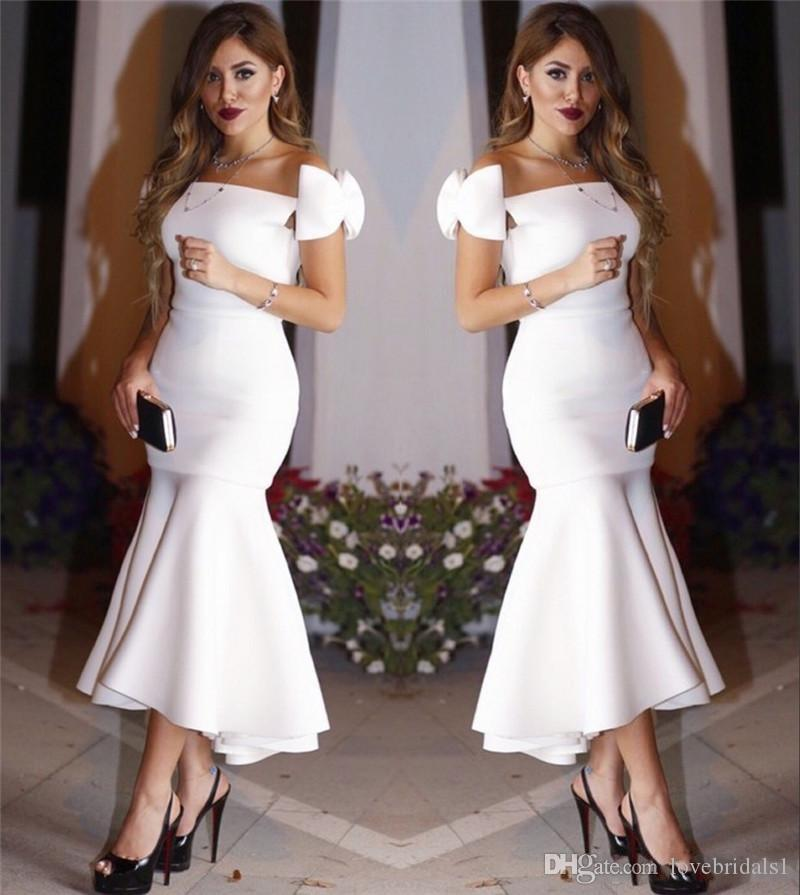2017 Mermaid Off Shoulder Sexy White Tea Length Arabic Cocktail Dresses Plus Size Cheap Simple Formal Evening Prom Party Gowns Vestido Festa