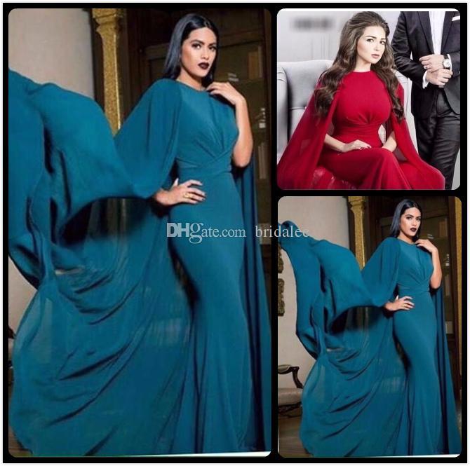Vestidos de noche formales atractivos 2016 Rojo con capa simple gasa sirena vestido de noche Watteau para vestidos de mujer