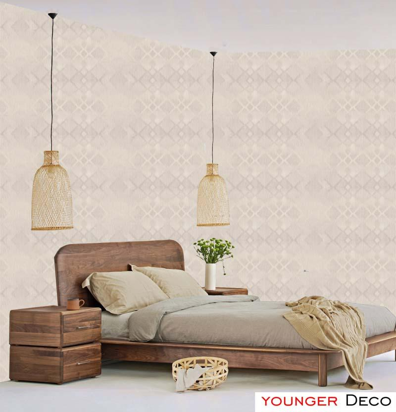 Wholesale grey modern simple design wall paper blue white mica colour for bedroom wallpaper square pattern wall paper roll 3d modern effect