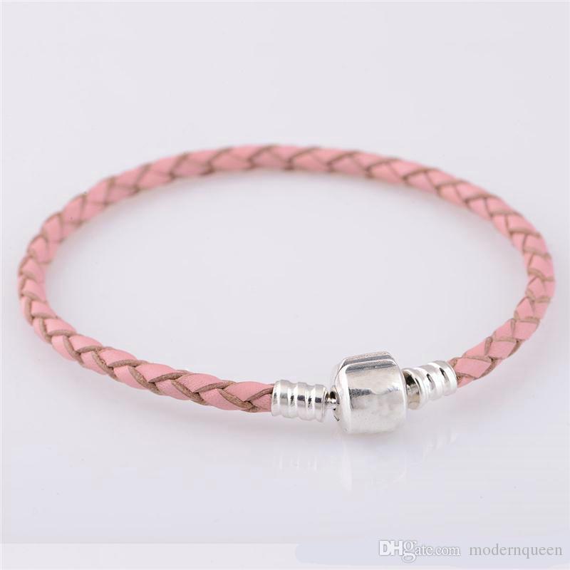 Bracciale in pelle rosa 925 argento sterling si adatta ai braccialetti di stile originale qualsiasi collana stile europeo
