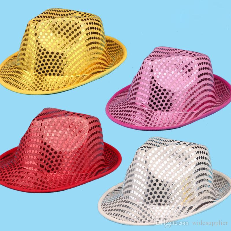 Хэллоуин производительность шоу реквизит макияж платье головной убор мужской и женский джаз шляпа Шляпа шляпа бисер блестки шляпы