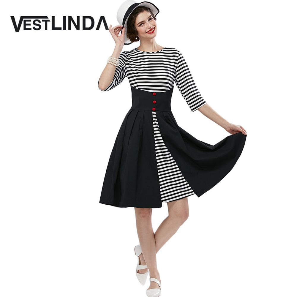 Wholesale- VESTLINDA Vintage Dress Black White Stripper Dress Women ... b71bc9af5b63