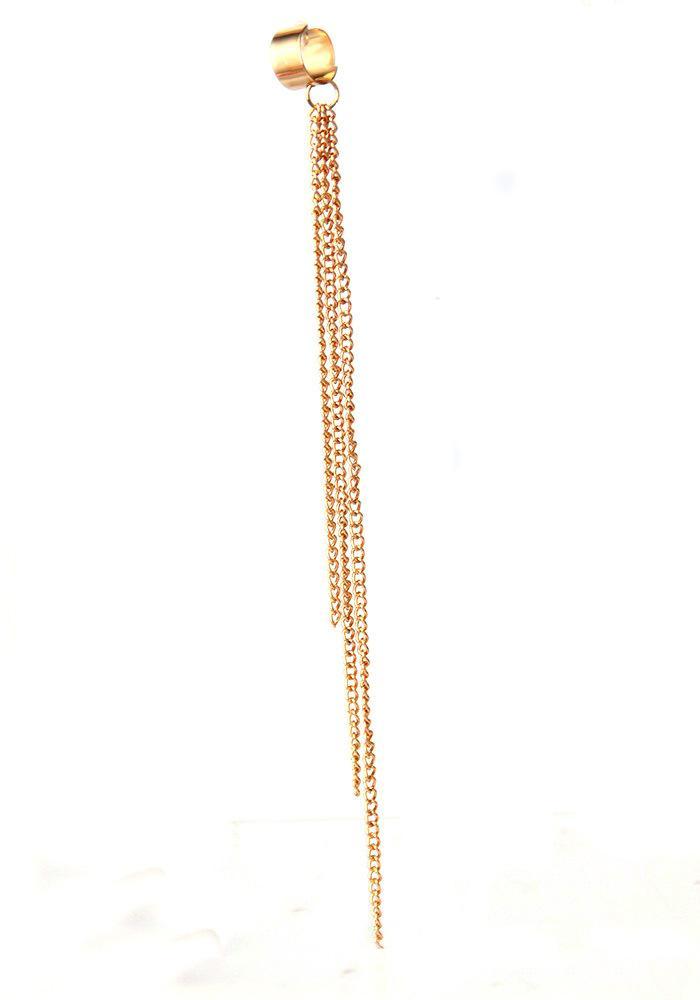 Kittenup 1 UNIDS Nueva Moda Europea Oro-color Larga Cadena de Metal Ear Cuff Joyería Borla Clip Pendientes para Las Mujeres de Color Plata