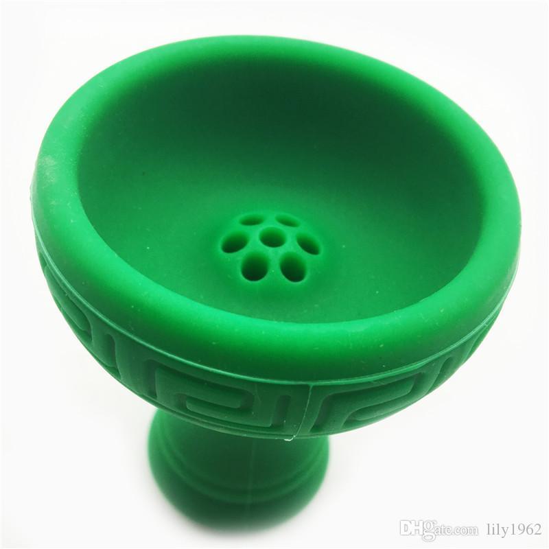 Yeşil Renk Toptan Fabrika Fiyat Shisha Nargile kase yeşil renk Başkanı silikon Kase Tutucu Nargile Kafa silikon Kase