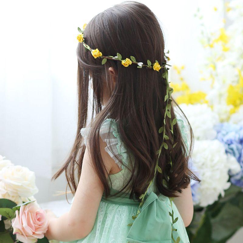 Voyage Plage Feuilles Rotin Coloré Mariage Guirlandes De demoiselle d'honneur Bandeau de mariée Bande de mariée Fleur Couronne Bohême Head Flower Girl Girl Coiffeur