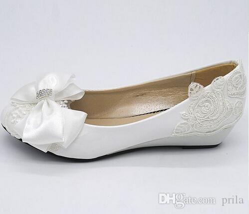 Low Heel 3cm Wedges Heels Bridal Wedding Shoes For Women Front Bow