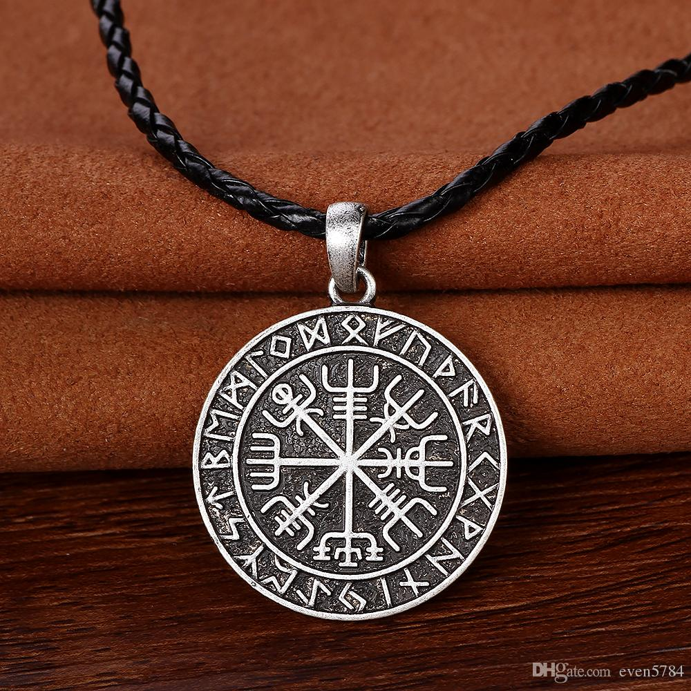 amulet viking odin norse runic pendant necklace Viking Runes Vegvisir Compass Pendant necklace christmas gift For Best Friend