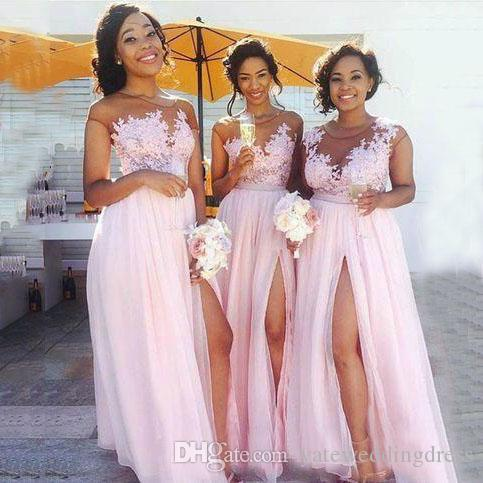 2017 Light Pink Long Bridesmaid Dresses Jewel Sheer Neck Short Capped Sleeves Evening Gowns Chiffon Side Split With Applique Formal Dress Trendy