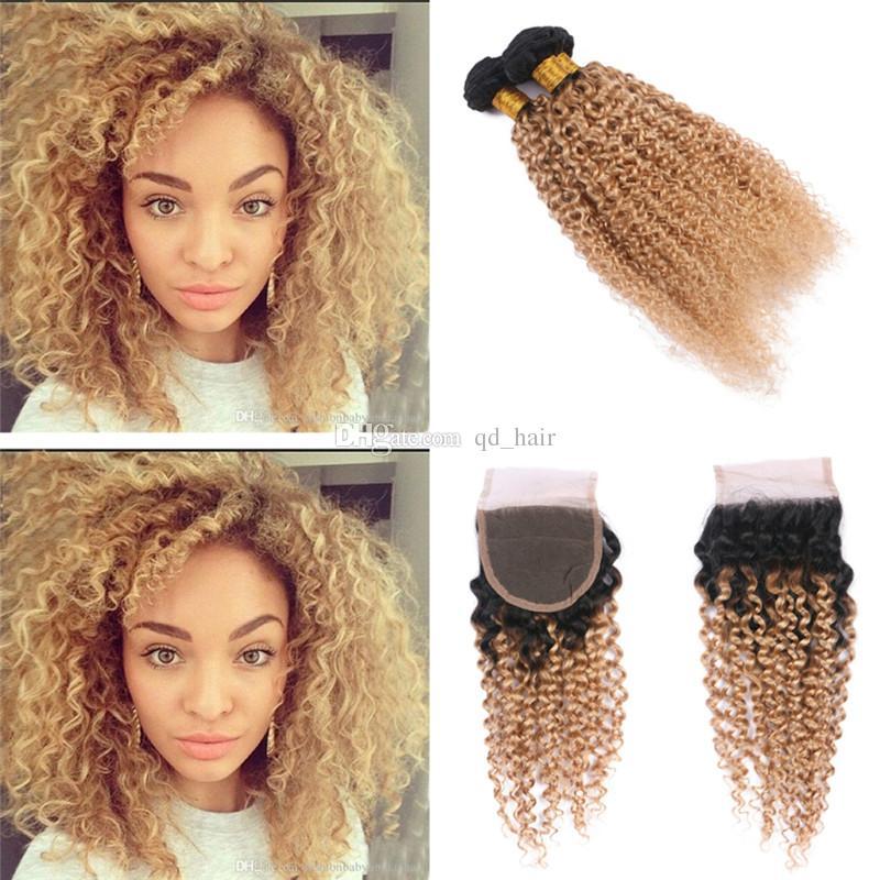 3/4 Bundles With Closure Human Hair Weaves Brazilian Bundles With Closure #27 Honey Blonde Color Human Hair Weave 3 Bundles Curly Hair Extensions With 4x4 Lace Closure