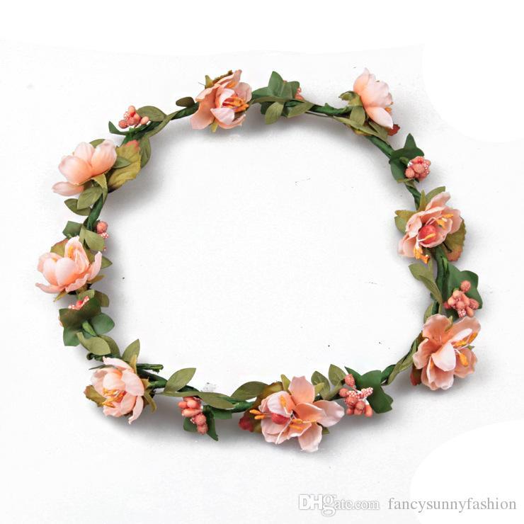 Price Cheap Bohemian Terylene Flower Headband Garland Crown Festival Wedding Bride Bridesmaid Hair Wreath BOHO Floral Headdress Headpiece