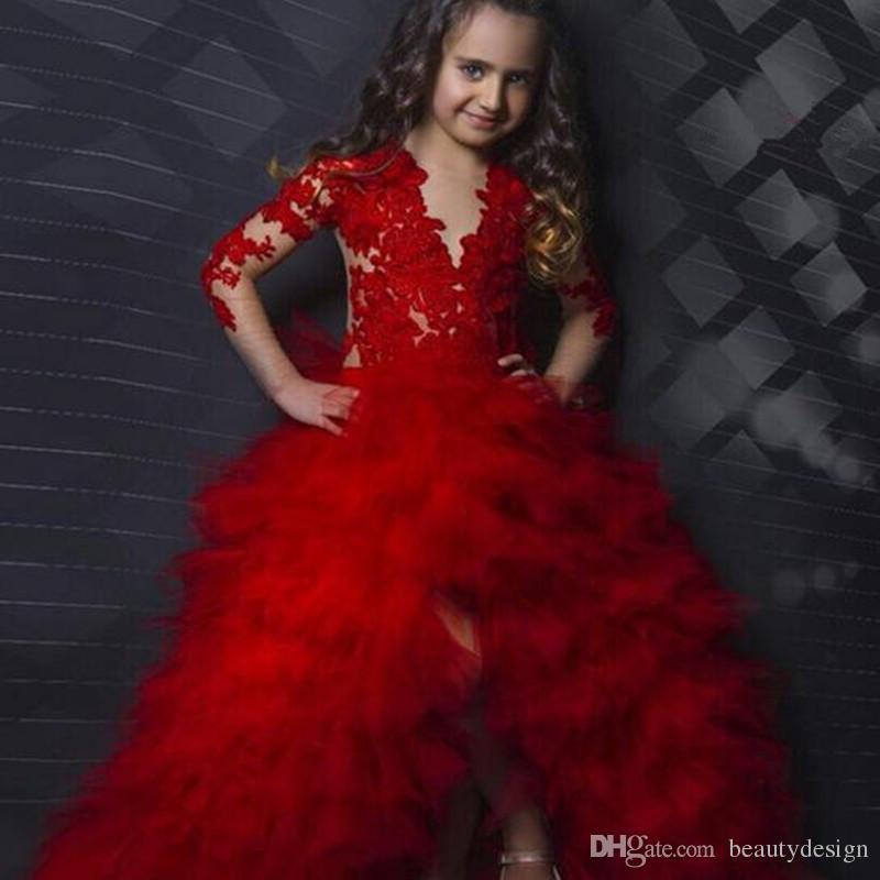 Czerwone Długie Rękawy Aplikacja Tiers Baby Girl Urodziny Party Boże Narodzenie Dzieci Dziewczyna Korownice Suknie Kwiat Dziewczyna Sukienki Dla Nastolatków