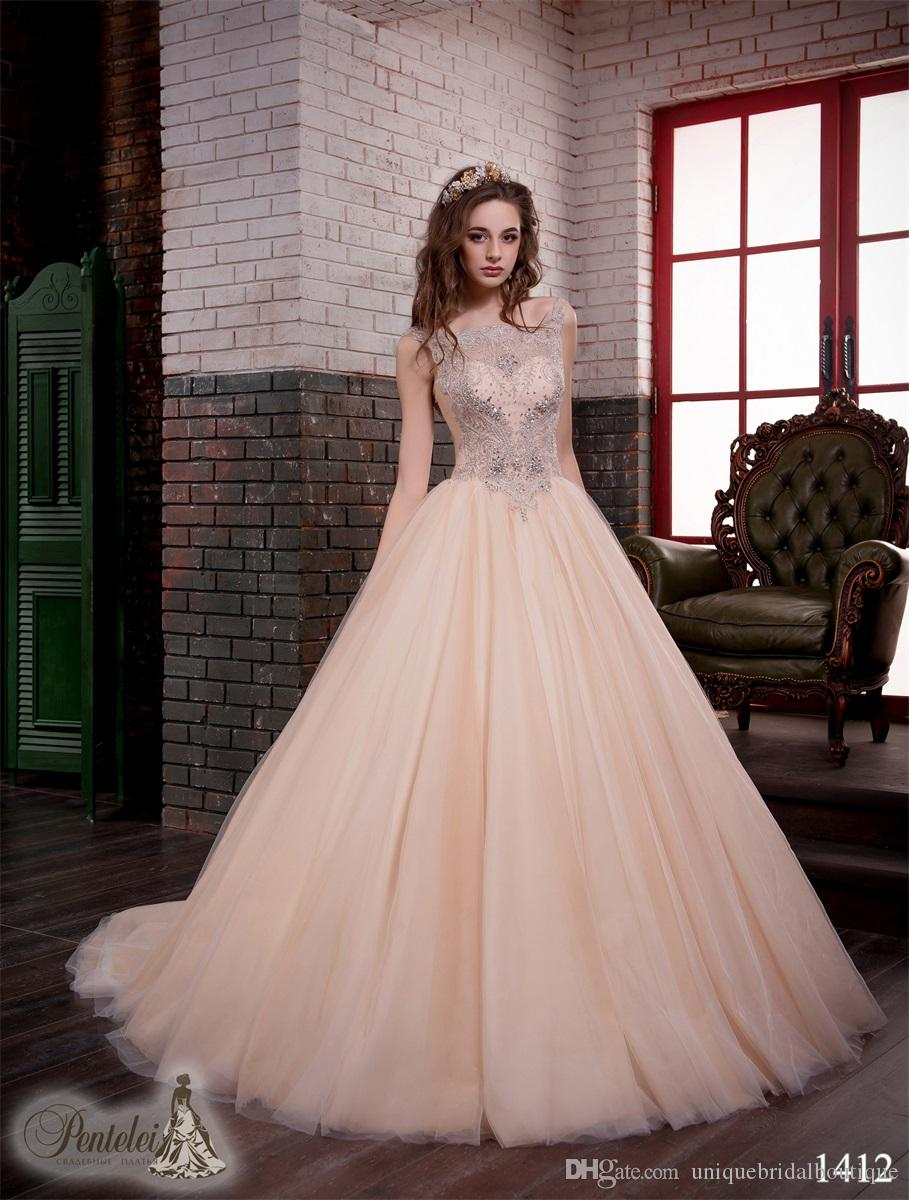 Champagne Wedding Dresses 2017 Pentelei With Straps And Major ...
