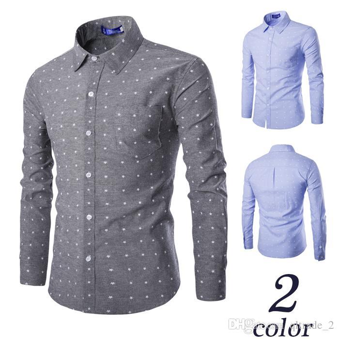 القمصان الرجالية عارضة أكسفورد الطازجة خمس نجوم المطبوعة قميص طويل الأكمام الرجال القمصان اللباس عارضة