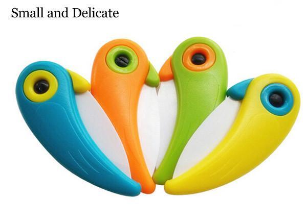 Mini Oiseau En Céramique Couteau Poche Pliant Oiseau Couteau À Fruits Couteau En Céramique Avec Coloré ABS Poignée Cuisine Outils Gadget