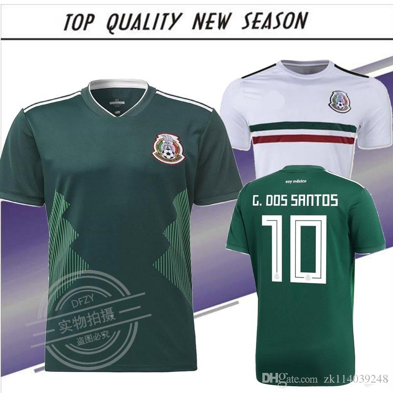 Nueva Camiseta De Fútbol Local 2018 De México 2017 2018 G.DOSSANTOS C.VELA México  Camiseta Blanca Verde CHICHARITO O.PERALTA Camiseta De Fútbol Por ... a9fb41166ac60