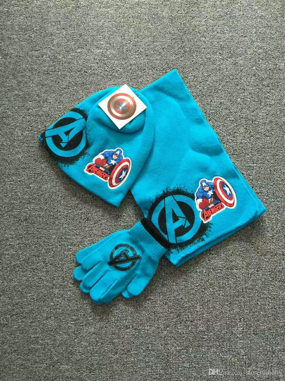 enfants dessin animé crochet mitaines pour garçons hiver coton gants chapeaux bonnets tricotés ensemble accessoires d'hiver en gros pas cher prix vêtements