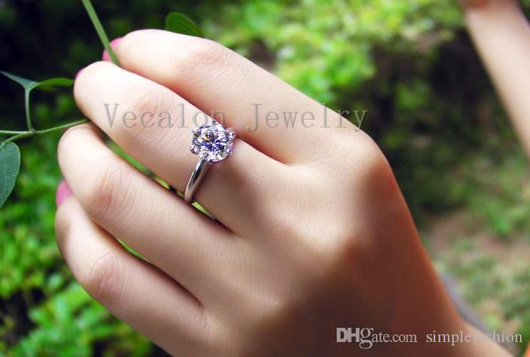Vecalon 2016 moda Novo anel de casamento para as mulheres 2ct Simulado diamante Cz 925 Sterling Silver Anel de Noivado Banda Feminina dedo