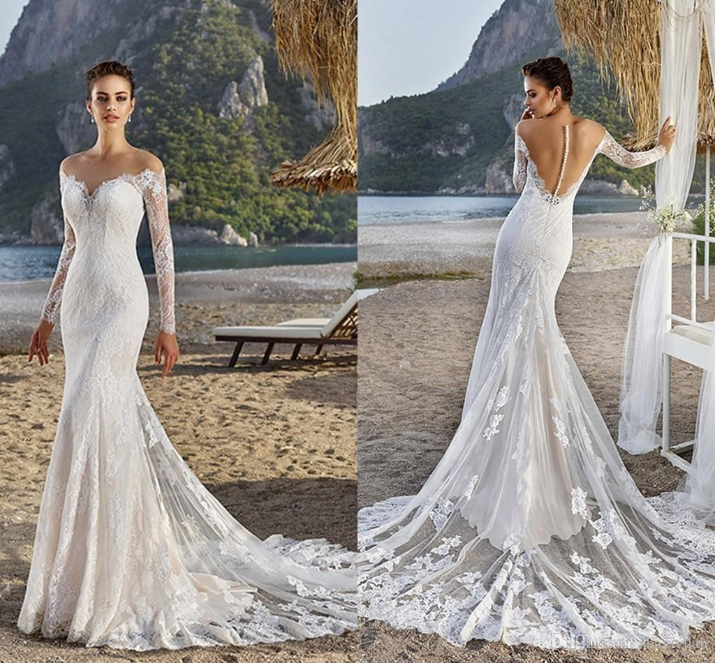 Summer beach sheer lace wedding dresses off the shoulder for Wedding dress no train
